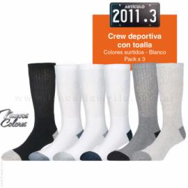PACK X3 o x12- MEDIA DEPORTIVA CREW CON TOALLA - ART 2011
