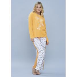 ART 4101 - Conjunto manga larga jersey de algodon con pantalon estampado