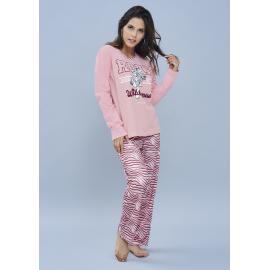 ART 4104 - Conjunto manga larga jersey de algodon combinado con pantalon estampado