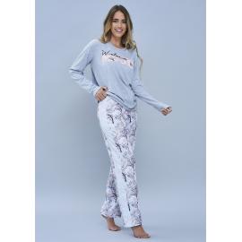 ART 4109 - Conjunto manga larga jersey de algodon con pantalon estampado