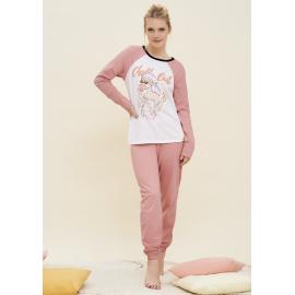 ART 4103 - Conjunto manga larga jersey de algodon con pantalon elastizado y estampa
