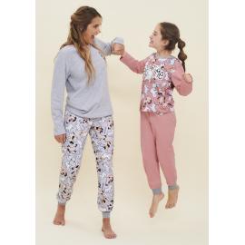 ART 4116 - Conjunto infantil manga larga jersey de algodon estampado