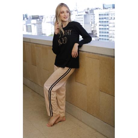 ART 4301 - Pijama manga larga de algodon  y pantalon estampado con tiras laterales