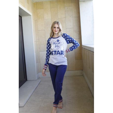 ART 4309 - Pijama manga larga de algodon con pantalon de algodon liso