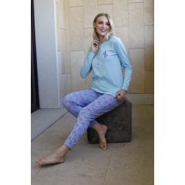 ART 4305 - Pijama especial de algodon manga larga con pantalon estampado