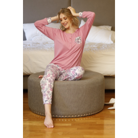 ART 4308 - Pijama especial  de algodon manga larga con pantalon estampado